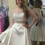 White Two Piece Short Satin Long Sleeve Prom Dress