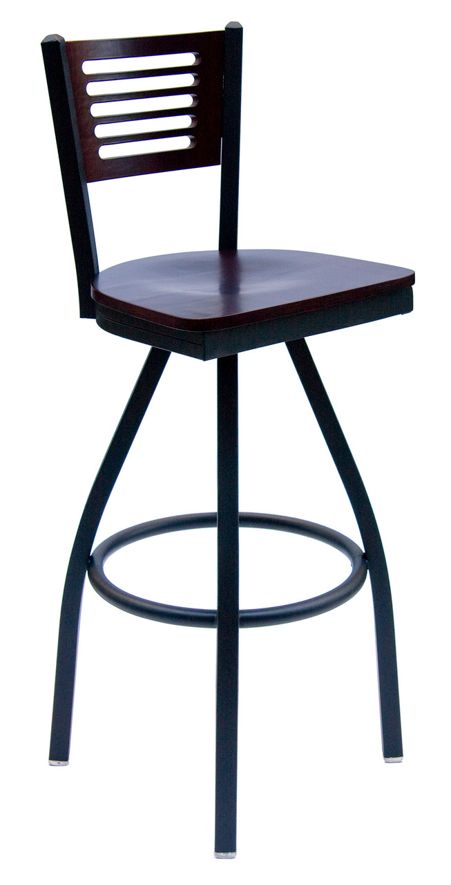 Espy Black Metal Frame Swivel Bar Stool With Slotted Wood Back And Choice Of Seat Bfm Seating