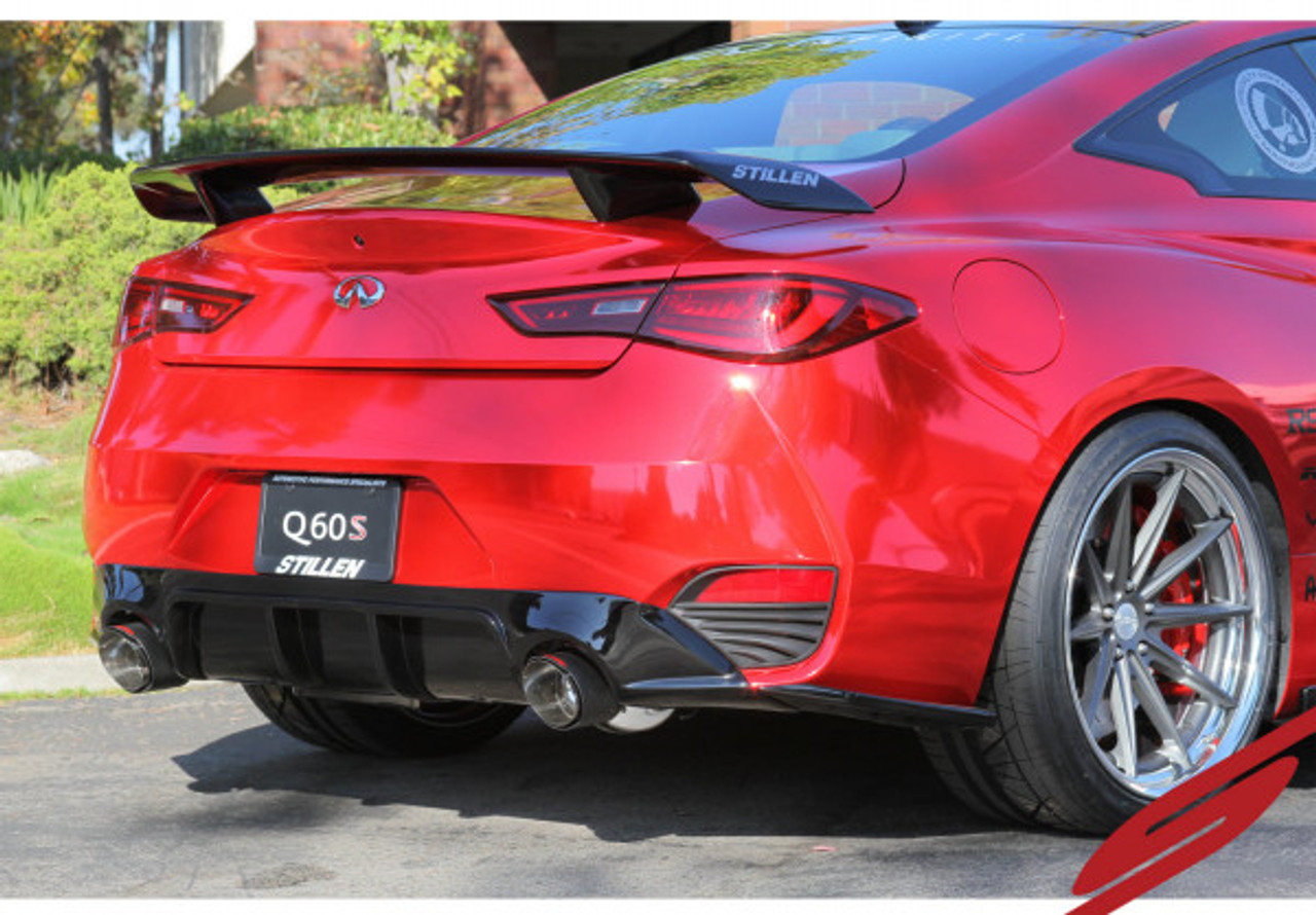 2017 2018 infiniti q60 3 0tt stainless steel cat back exhaust system with carbon tips