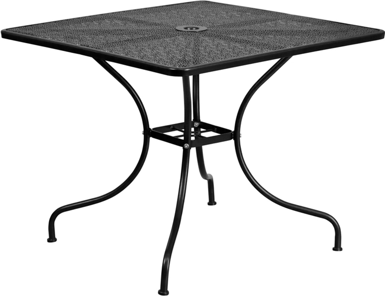 square indoor outdoor steel patio table with arched base