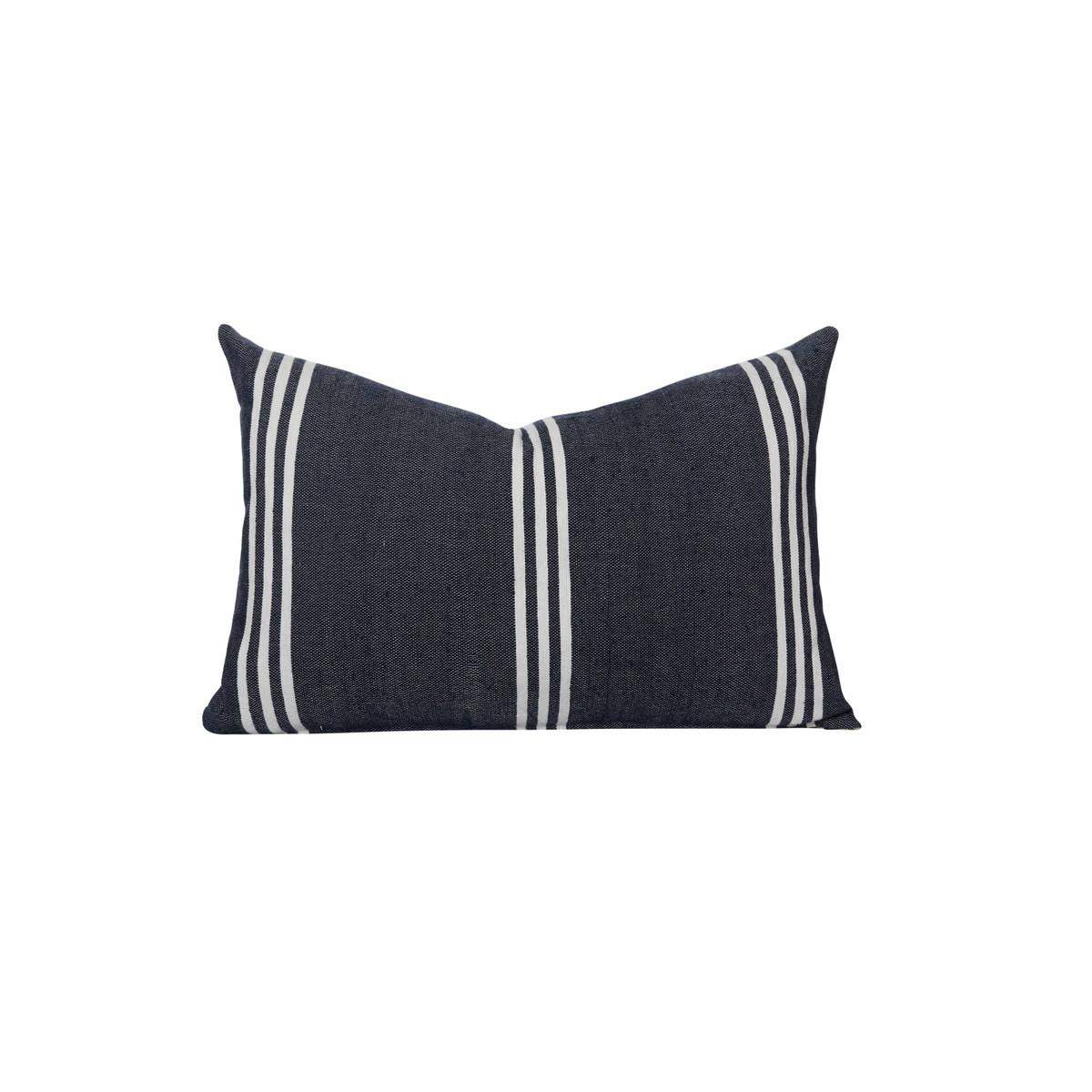 three stripe pillow navy