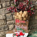 Christmas Front Door Decor Home For The Holidays Door Hanger Holiday Door Decor Home For The Holidays Christmas Door Hanger Christmas Truck Truck And Tree Red Truck Decor Mattie Lu