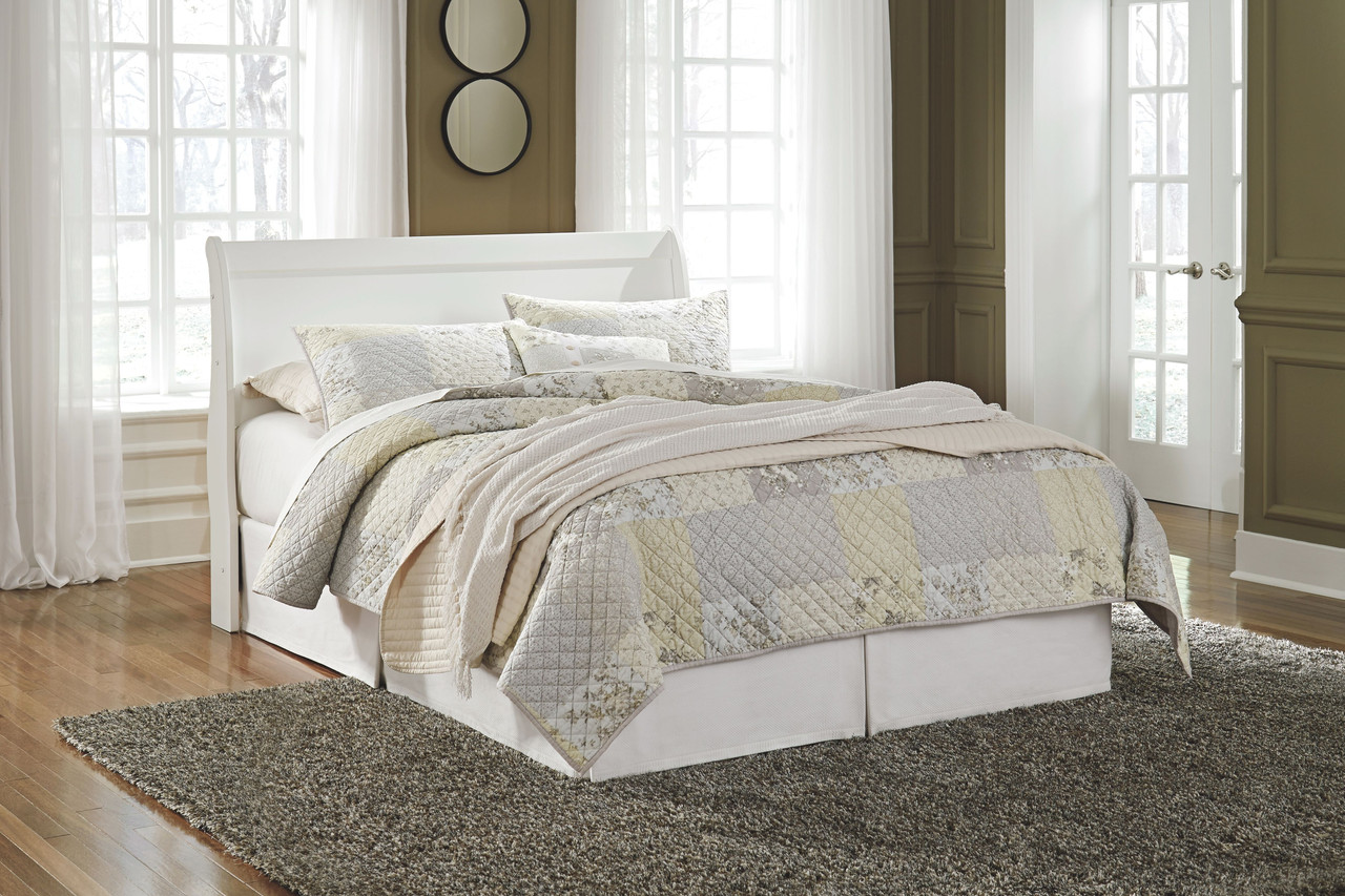 The Anarasia White Queen Sleigh Headboard With Bolt On Bed Frame Available At Bitney S Furniture And Mattress Company Serving Kalispell Mt