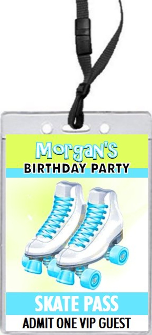 roller skates birthday party vip pass invitation set of 12