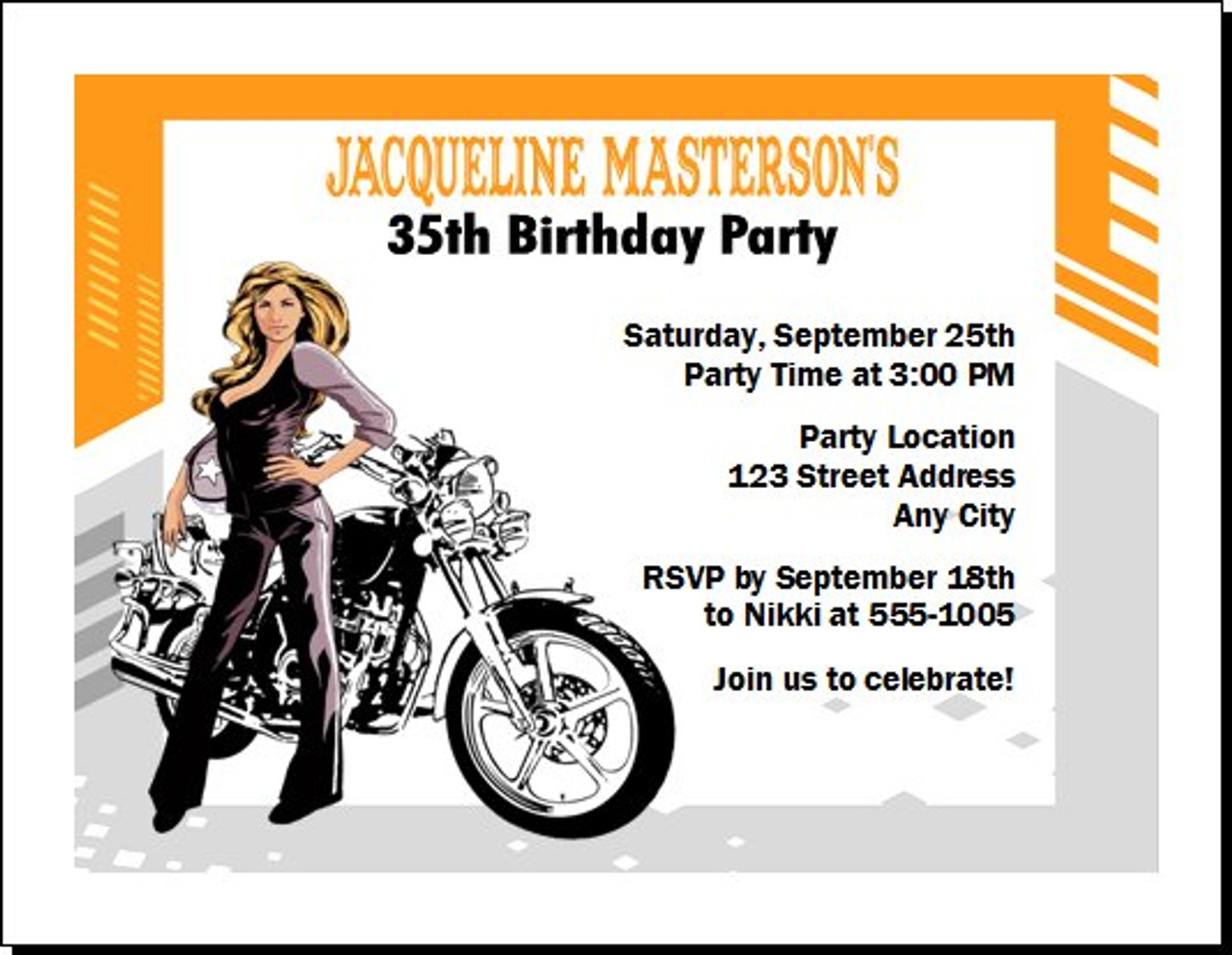 biker chick birthday party invitation set of 12