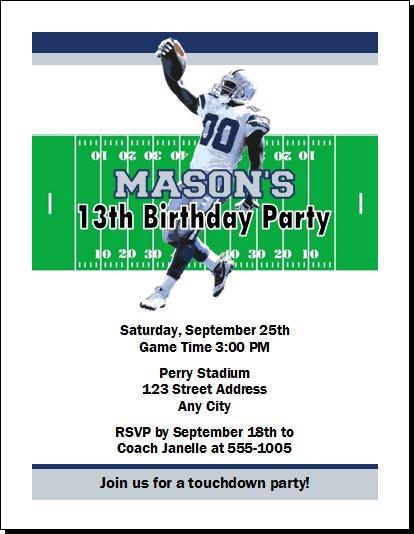 Dallas Cowboys Colored Football Birthday Party Invitation