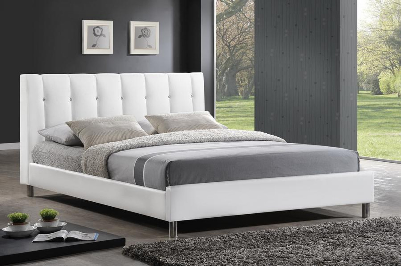 Baxton Studio Vino White Bed With Upholstered Headboard Queen Bbt6312 White Queen