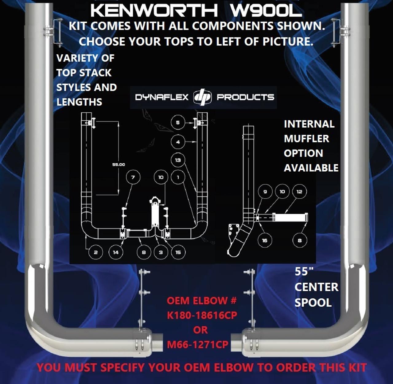 kenworth w900l w 45 step 7 rod pickett exhaust kit