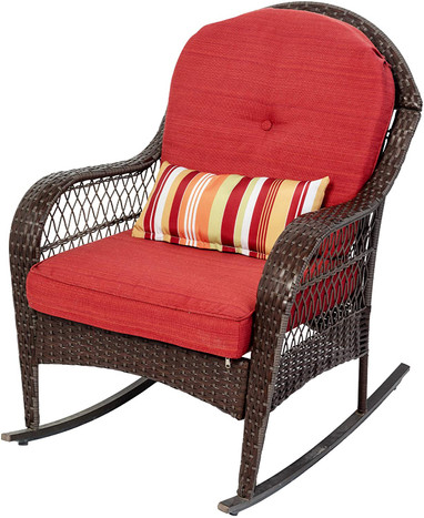 https www sundaleoutdoor com sundale outdoor rocking chair outdoor rocking lawn chair wicker patio furniture with olefin cushions and pillow red