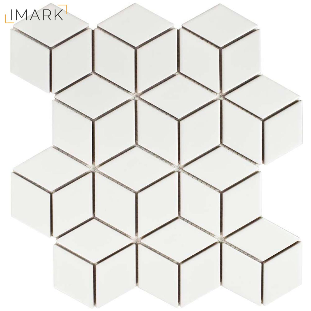 metro rhombus matte white 10 1 2 in x