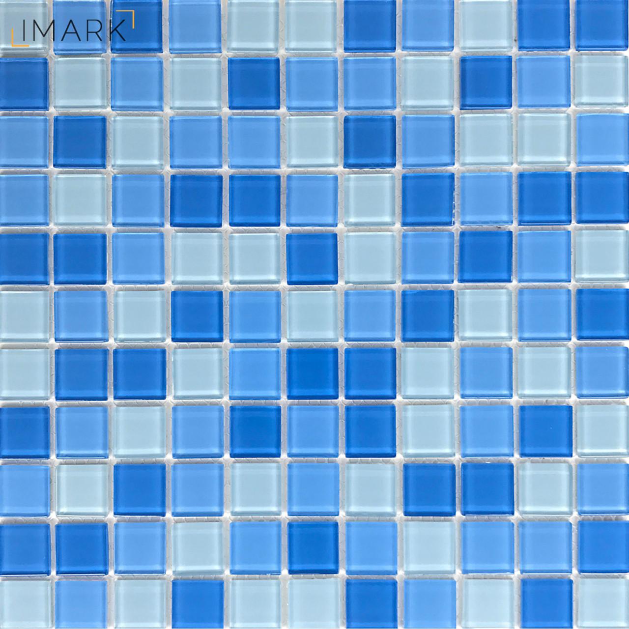 light blue glass pool tile water line