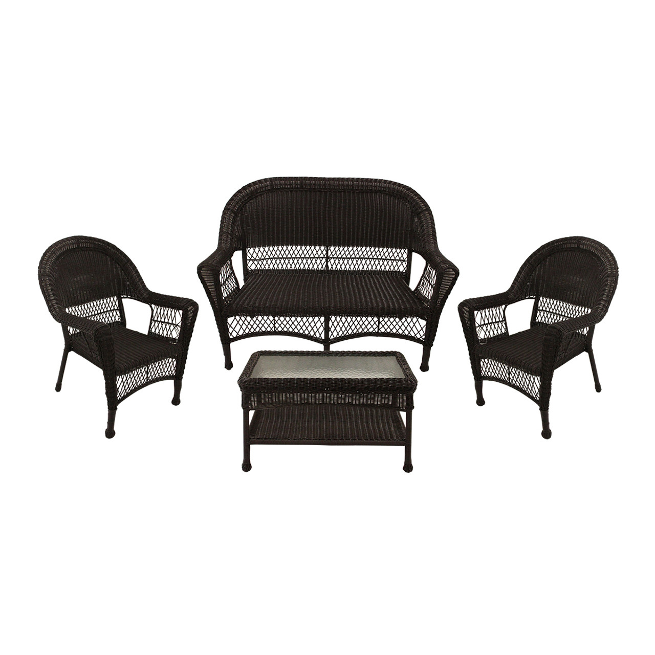 4 piece brown resin wicker patio furniture set with tempered glass 53