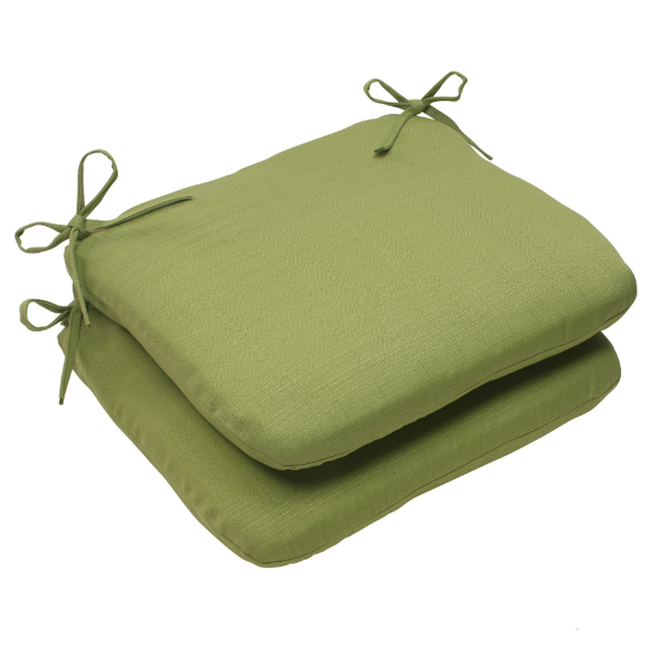 set of 2 olive green solid outdoor patio rounded seat cushions 18 5