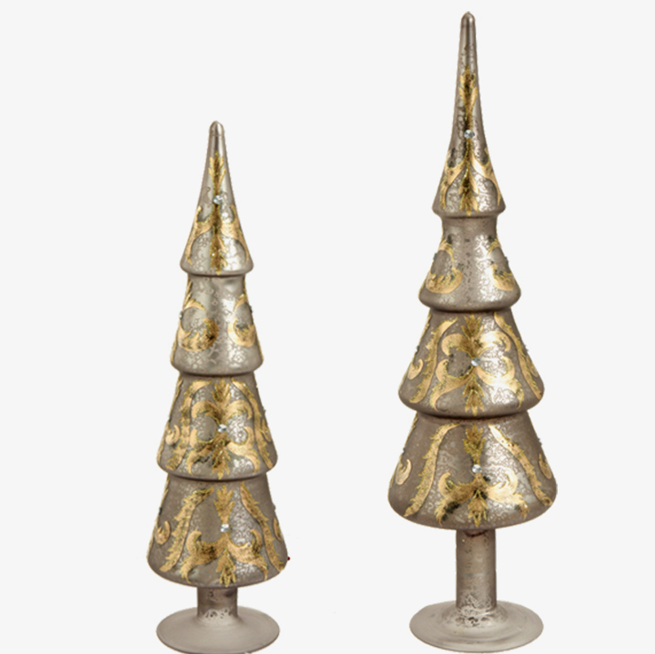 set of 2 silver and gold tree shaped finial christmas tabletop decors 17 25