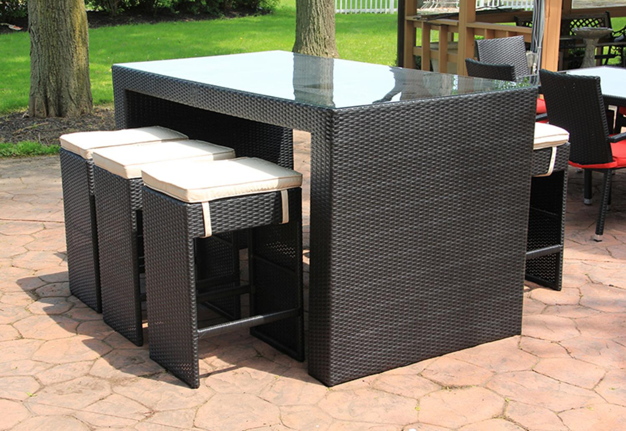 7 piece black and white wicker outdoor patio furniture bar dining set with cushions 78