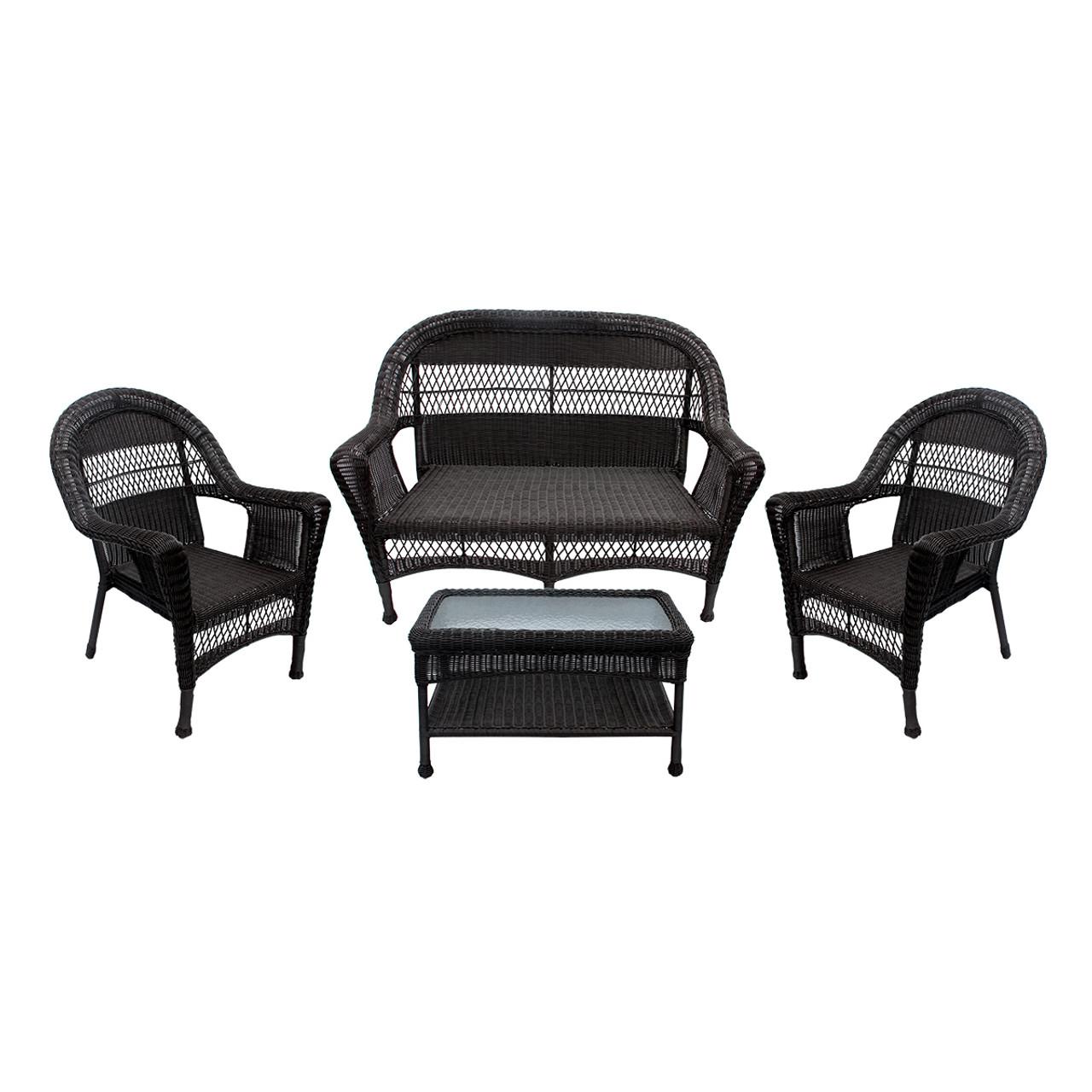 4 piece dark brown resin wicker patio furniture set 53
