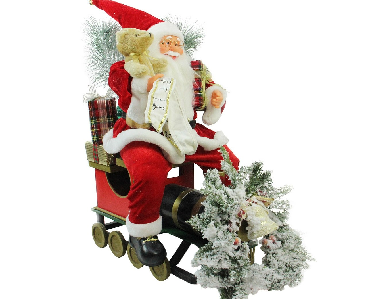 26 Red White Traditional Santa Claus Christmas Figure   Byers Choice Spiral Staircase   Stair Storage   Choice Carolers   Wooden Stairs   Inches Tall   Rolling Scaffold