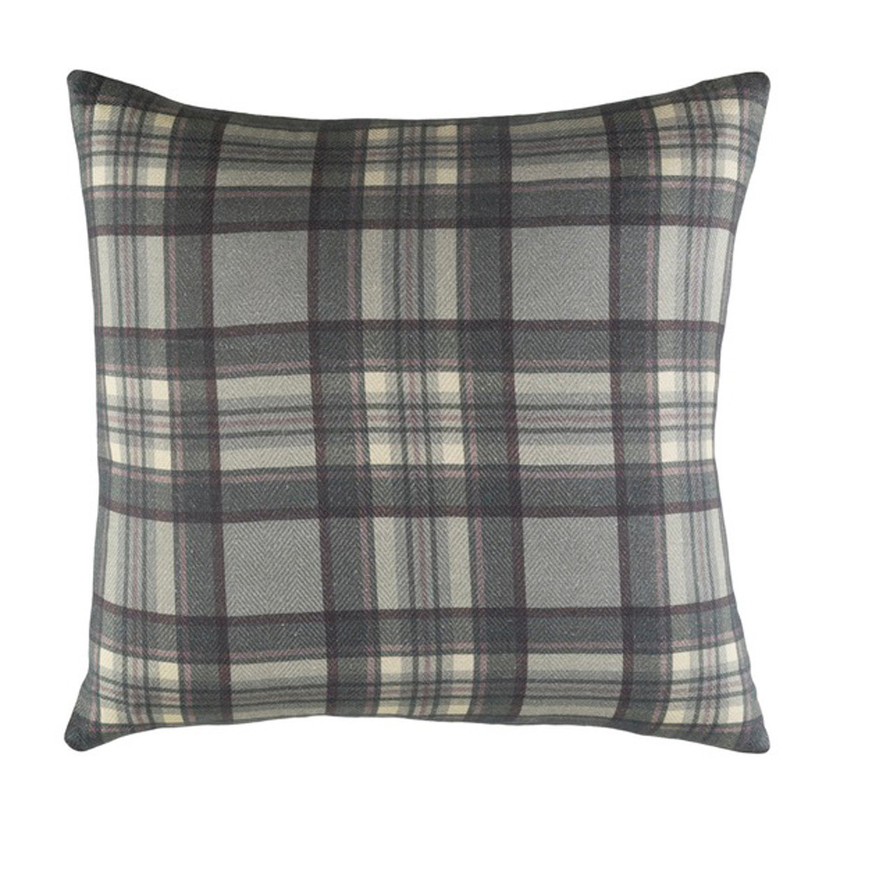 18 gray and green plaid digitally printed throw pillow