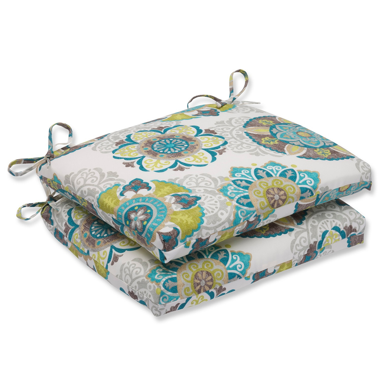 set of 2 blue and green suzani outdoor patio chair seat cushions 18 5