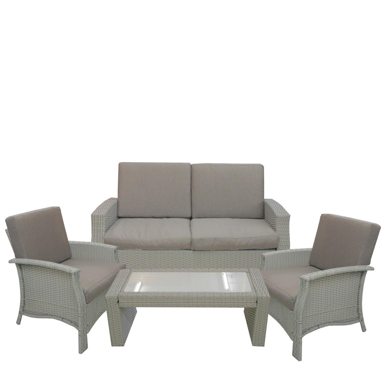 4pc gray wicker outdoor patio furniture set 57 75