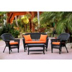 4 Piece Black Wicker Patio Chair Loveseat Table Furniture Set Orange Cushions 51 Christmas Central