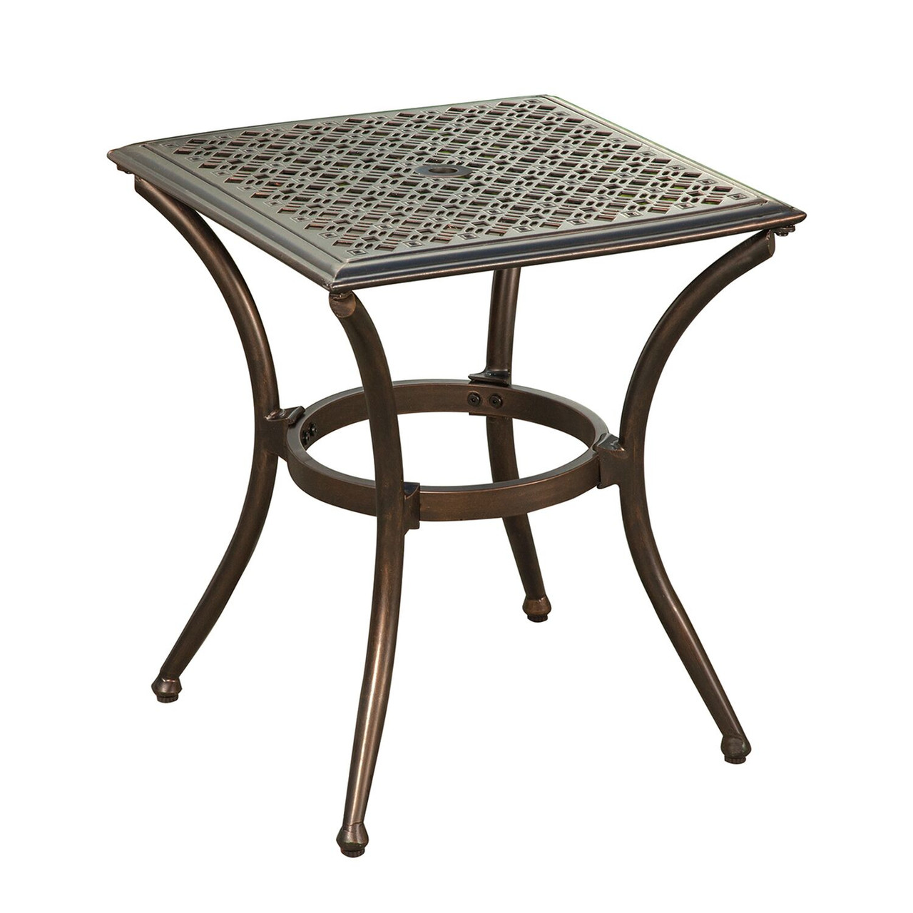 18 bali black and bronze aluminum square outdoor patio end table