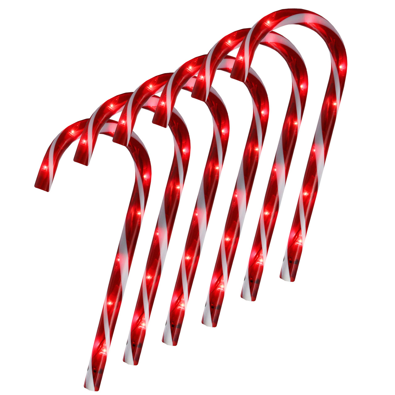 set of 6 pre lit red and white blinking candy cane outdoor christmas pathway markers 12