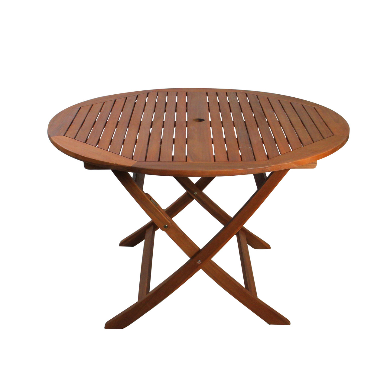 47 brown solid round outdoor acacia wood folding patio dining table