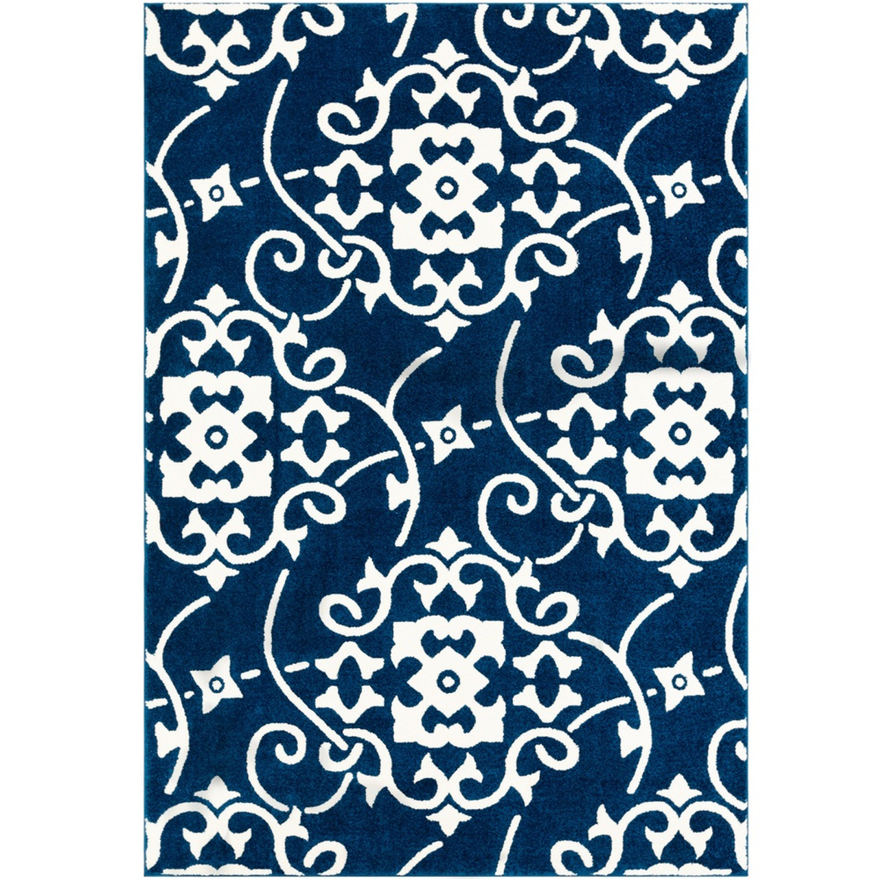 3 3 X 5 Tribal Design Navy Blue White Machine Woven Area Rug Christmas Central
