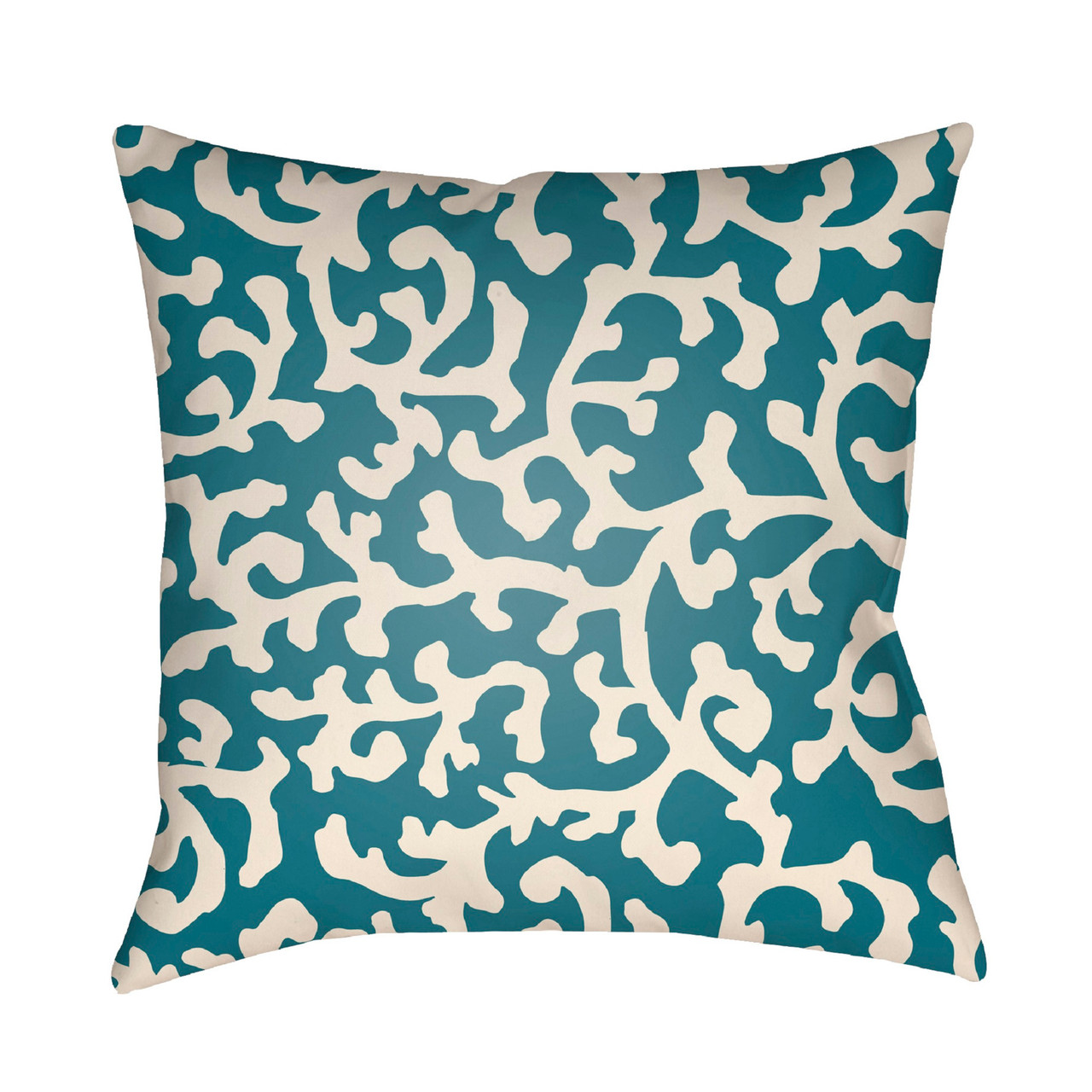 18 teal and ivory digitally printed coral reefs pattern square throw pillow cover
