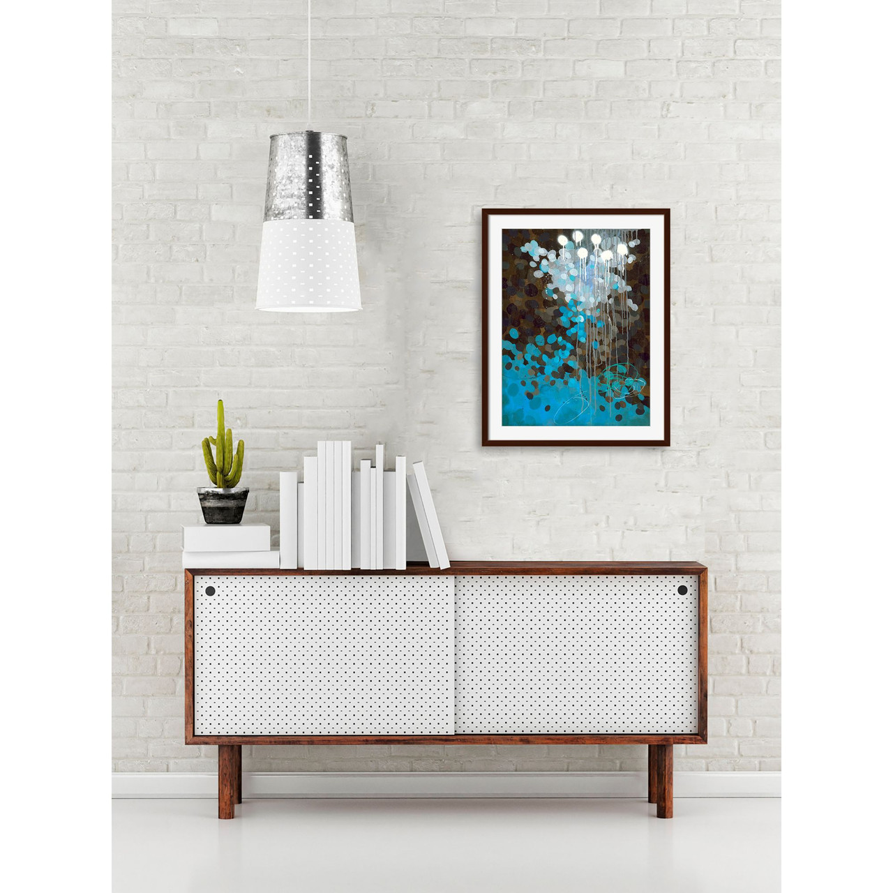Sky Blue And Brown Contemporary Style Square Framed Wall Art Decor 18 X 18 33418048