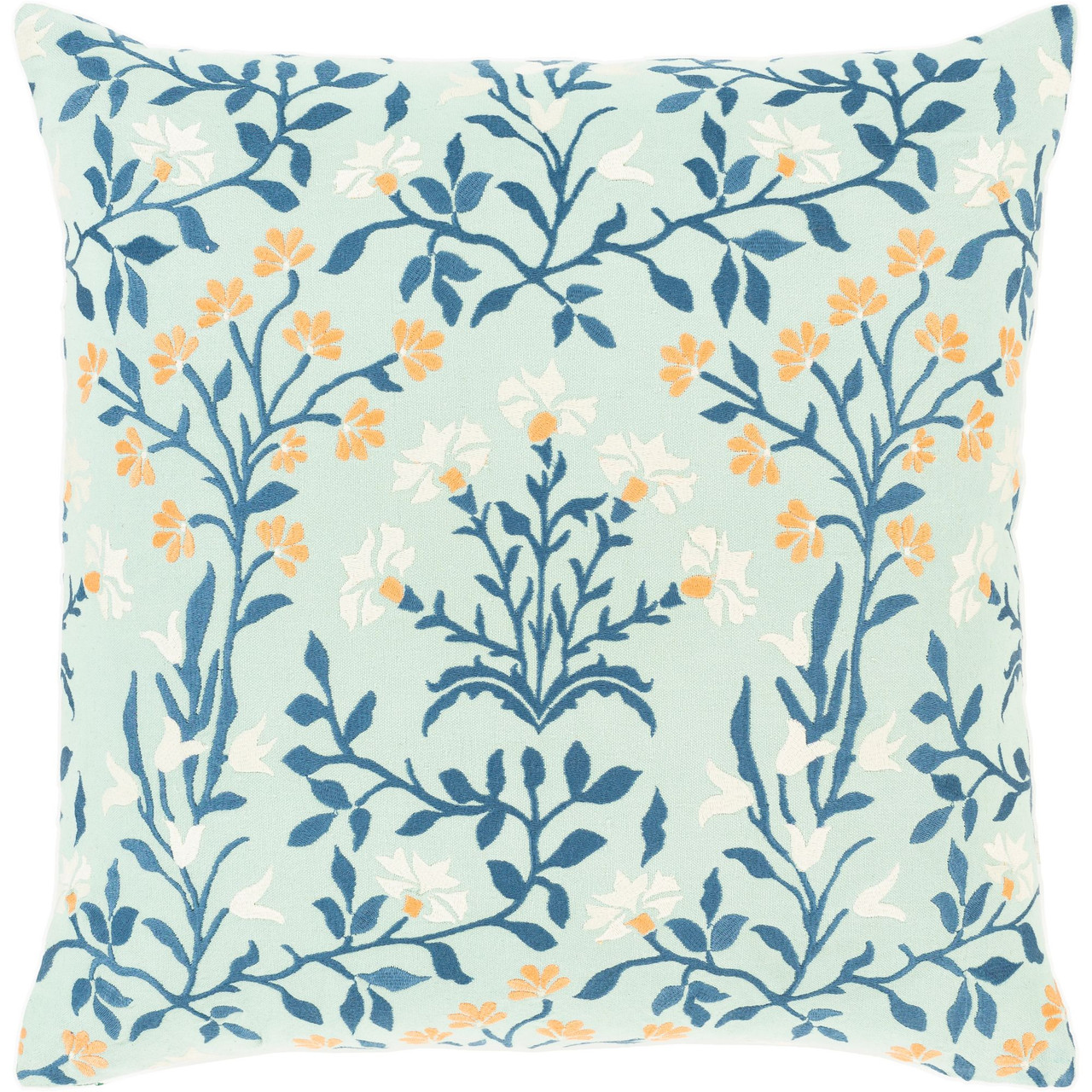 22 mint green and white floral embroidered square throw pillow poly filled