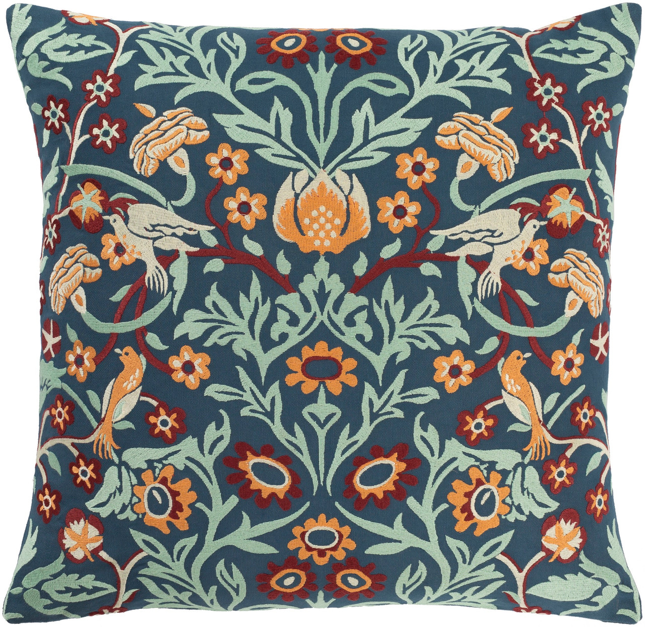 20 navy blue and red floral square throw pillow cover