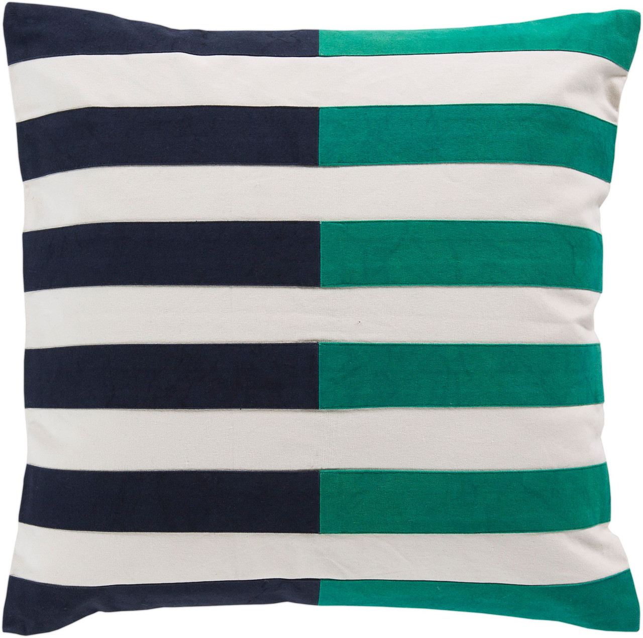 20 navy blue and emerald green striped square throw pillow cover