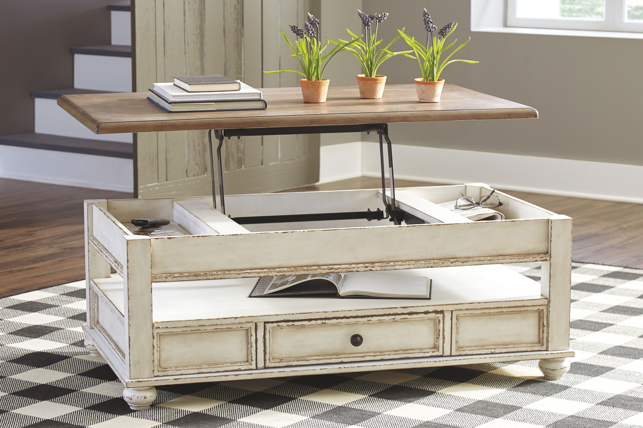 realyn white brown lift top cocktail table