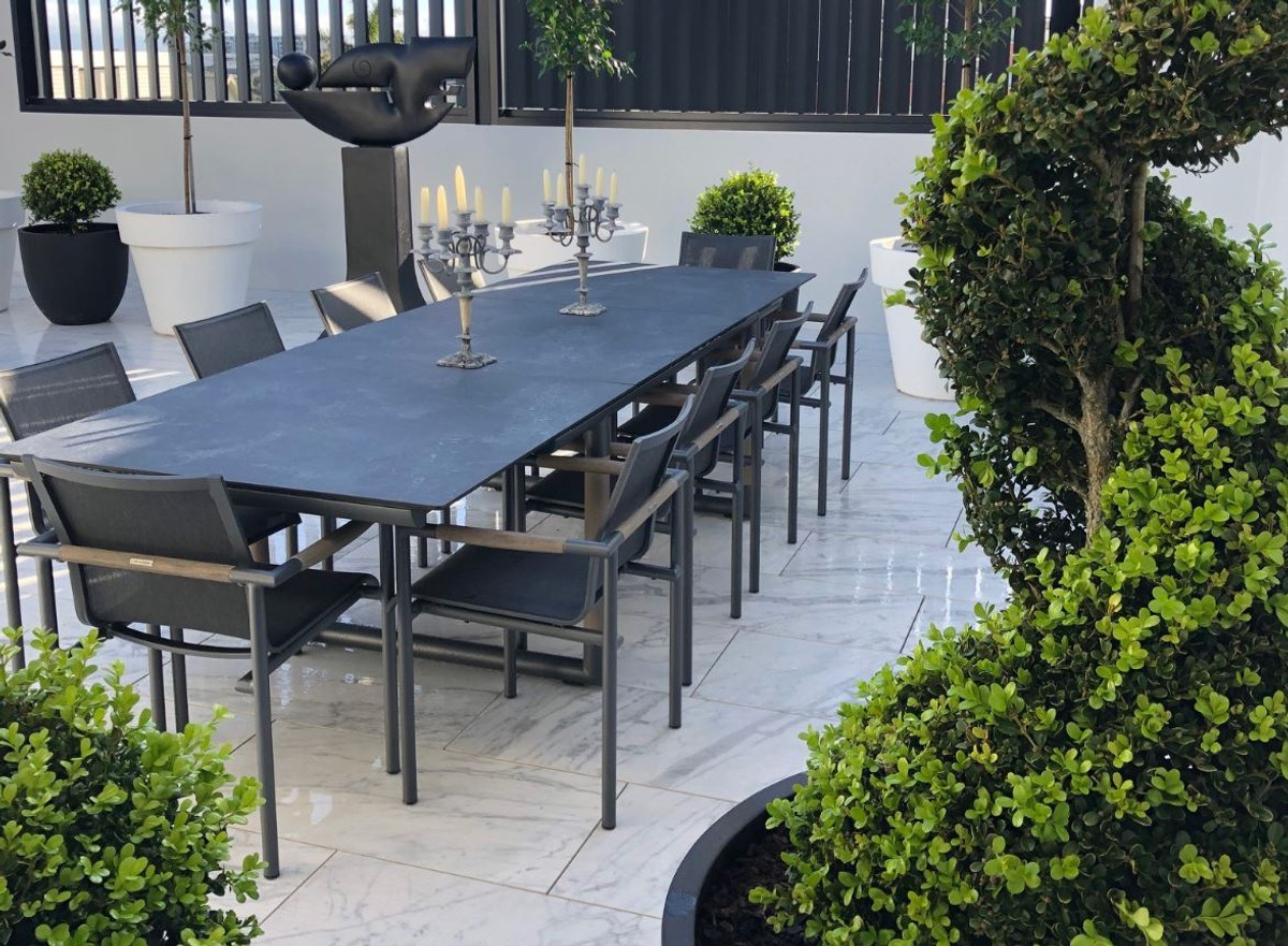 bastingage outdoor dining extension table space grey with slate hpl top