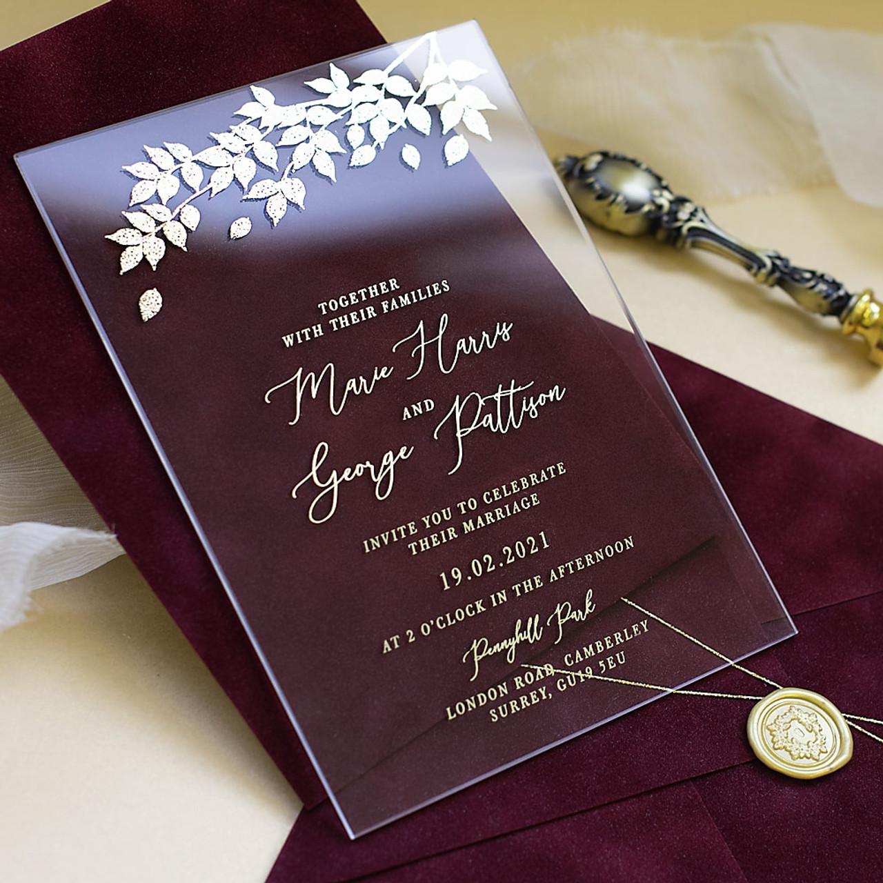 foliage burgundy velvet glass wedding