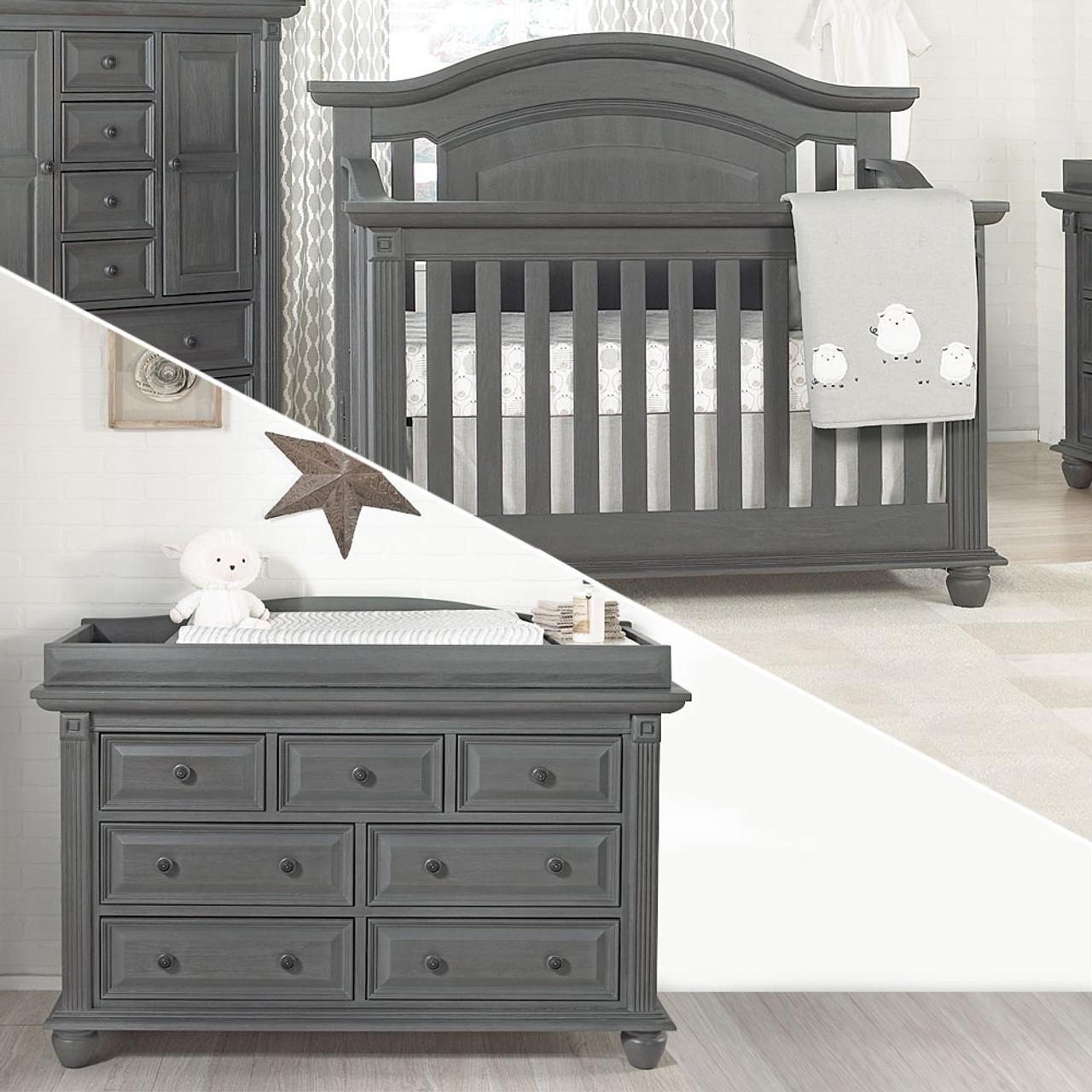 oxford baby london lane 2 piece nursery set crib dresser in arctic gray