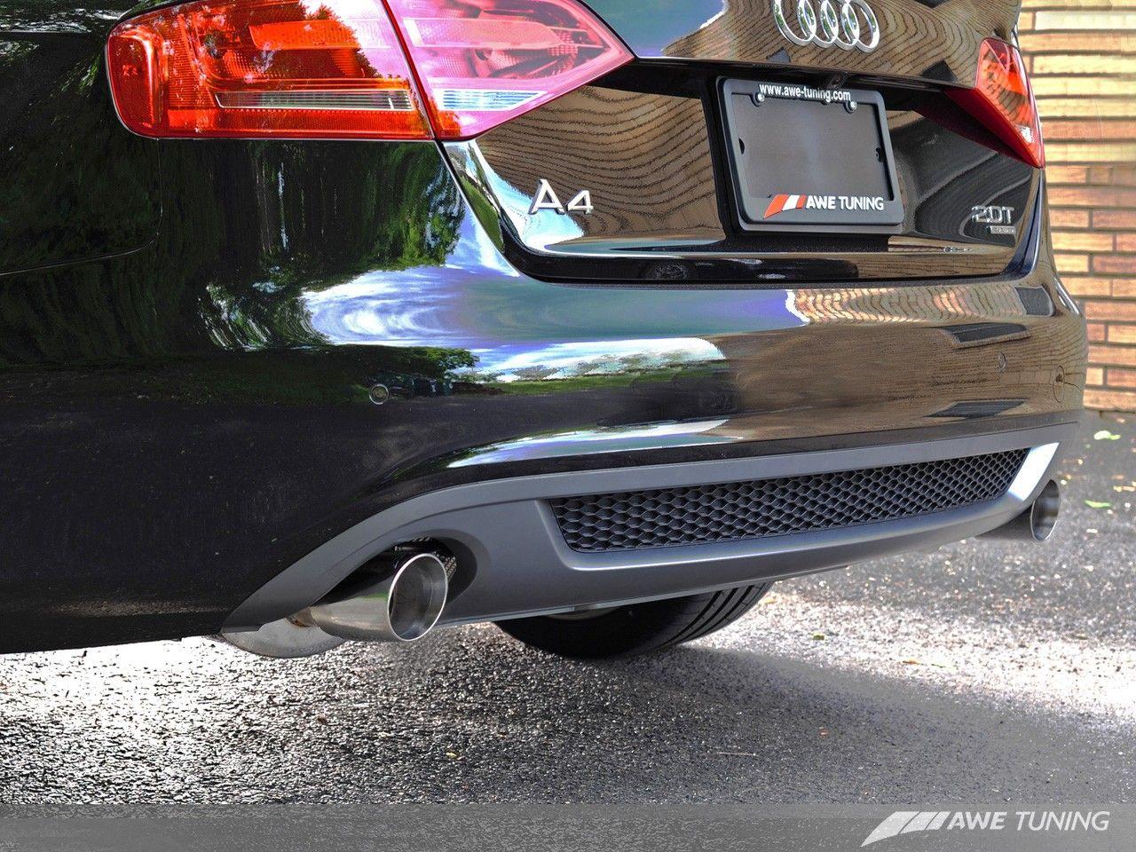 carbon fiber rear diffuser by awe for 2009 2012 audi a4 b8 dual quad exhaust converison