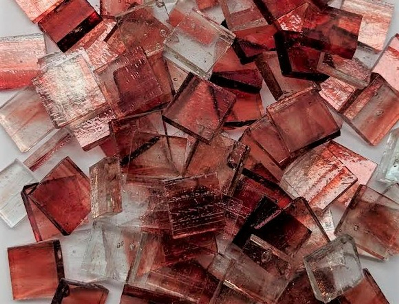 copper red crystal streaky stained glass mosaic tiles