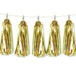 Metallic Foil Paper Tassels Garland Diy Kit 5 Tassels All Metallic Gold Give Fun