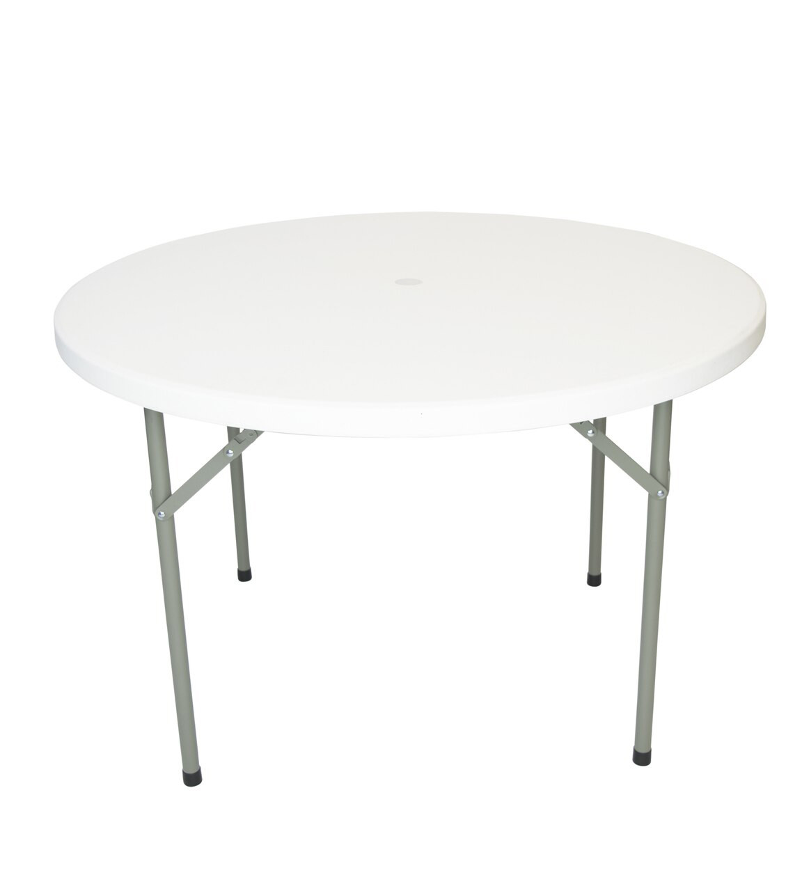 rhinolite 48 4 ft round plastic folding table with umbrella hole solid one piece top locking steel frame