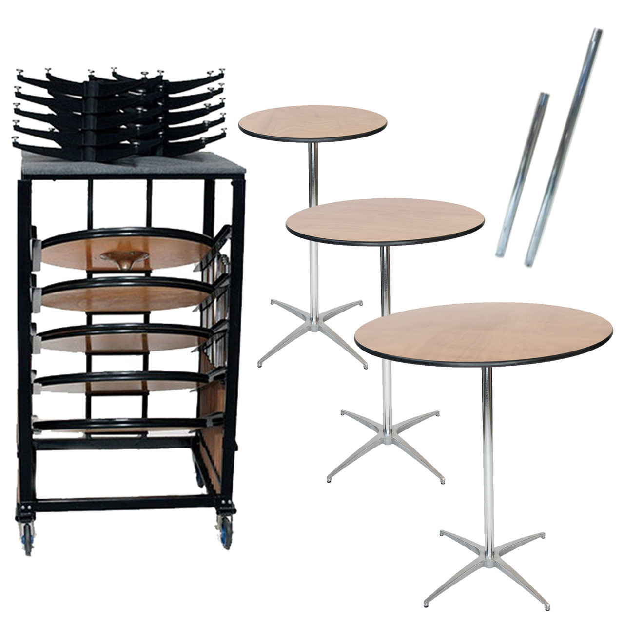 10 classic series round wood cocktail table bundle 10 tables 30 42 height poles and transport cart