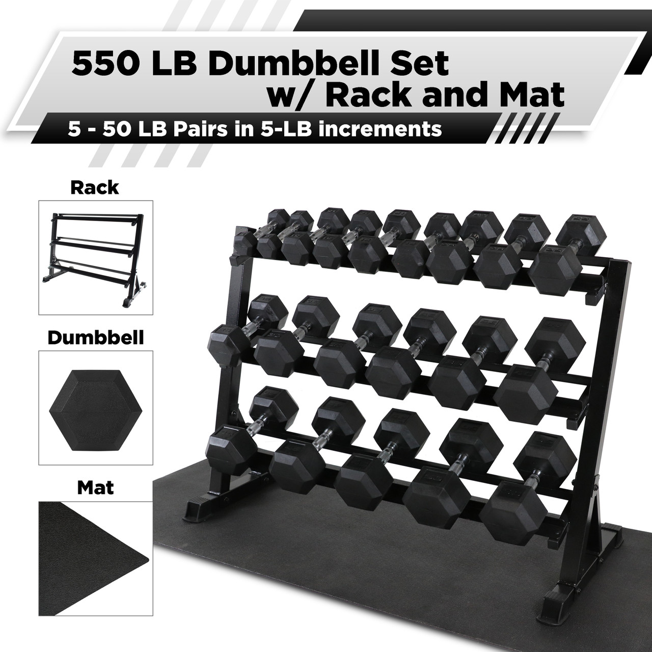 cap barbell rubber hex 550 pound dumbbell set with 3 tier 51 rack and mat 5 50lb pairs