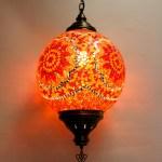 Mosaic Ceiling Lamp Size 6 Round Orange Red