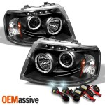 Fits 03 06 Ford Expedition Black Dual Halo Projector Led Headlights 6000k Hid Oemassive