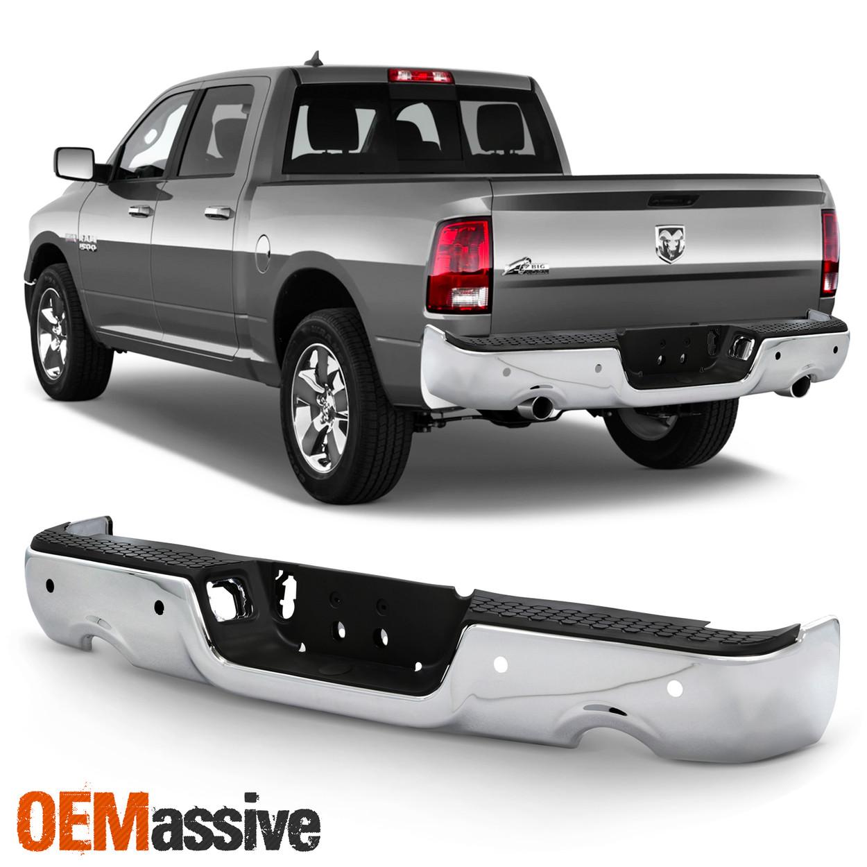 http oemassive com for 09 18 ram 1500 dual exhaust model chrome rear bumper step pad w sensor holes