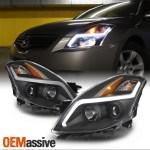 For 08 09 Nissan Altima Coupe Led Light Tube Projector Headlight Black Housing Oemassive
