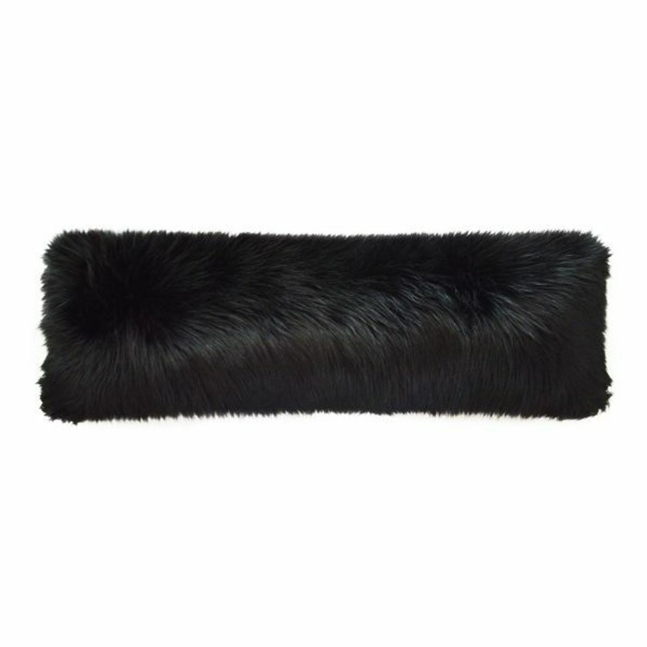 black fox faux fur pillow