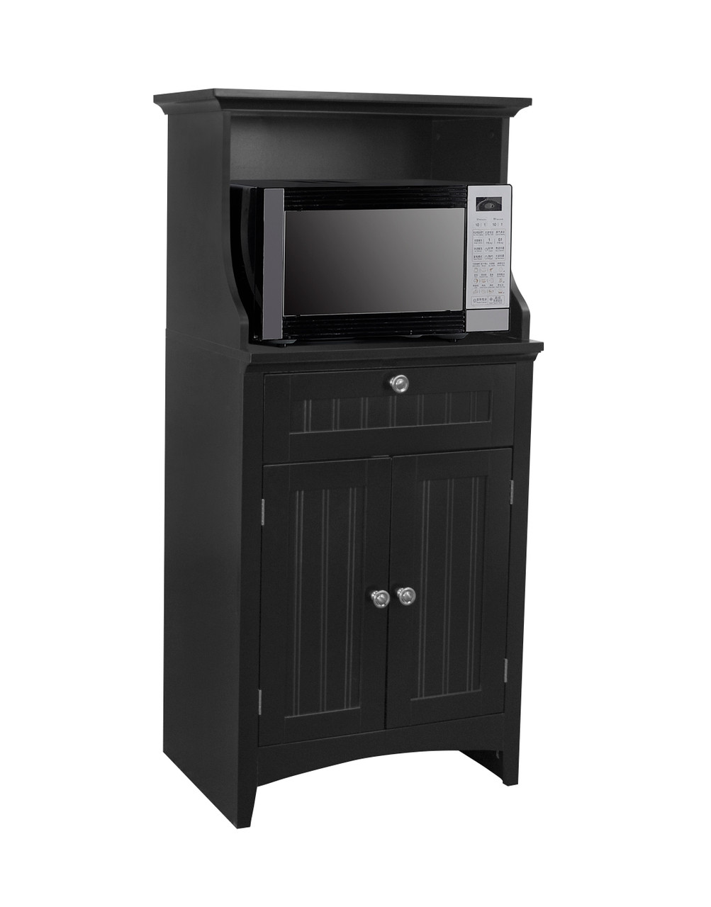 os home and office microwave coffee maker utility cabinet in black